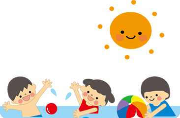 プールで並ぶ子供たちの様子